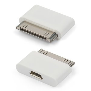 Micro-USB To 30 Pin Adapter compatible with Apple Cell Phones; Apple Tablets; Apple MP3-Players, ( for phone charging , white)
