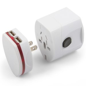 AC Adapter, (universal, traveller, converts from 220V 6A/USB to 5V 1A, white)