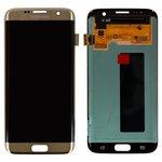 Дисплей для мобильных телефонов Samsung G935F Galaxy S7 EDGE, G935FD Galaxy S7 EDGE Duos, золотистый, с сенсорным экраном, оригинал (переклеено стекло)