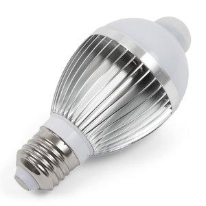Светодиодная лампа c ИК датчиком движения 5 Вт (холодный белый, 450 лм, Е27)